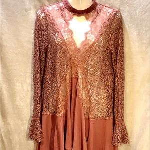 Free People NWT Rust Color Lace Tunic, Size Small